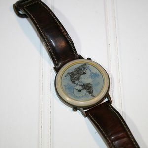 Mens Vintage Fossil Dual North South America Watch